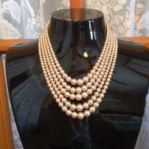 """Pearls 5 Strand Hook Vintage 14""""  Necklace"""